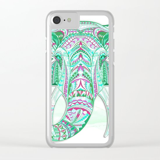 Sea Green Ethnic Elephant Clear iPhone Case