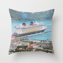 View of our ship Tortola Throw Pillow