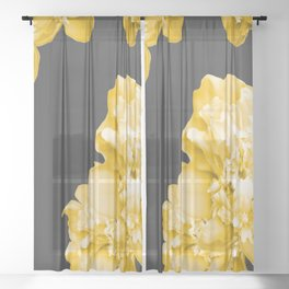 Yellow Flowers On A Dark Background #decor #society #homedecor Sheer Curtain