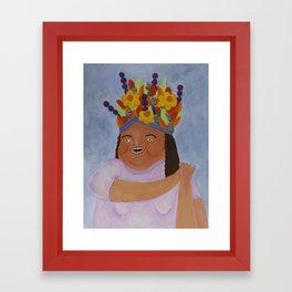 Fruit Basket Woman Framed Art Print