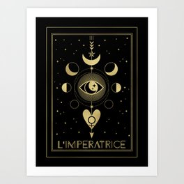 L' Imperatrice or The Empress Tarot Gold Art Print