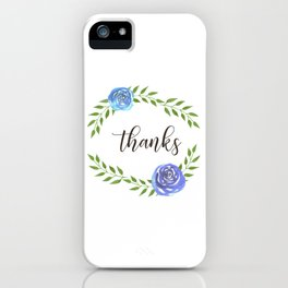 Happy Thanksgiving floral frame iPhone Case