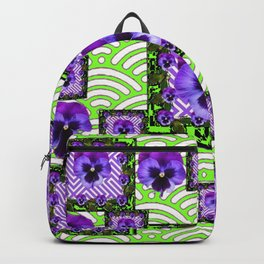 GREEN &  PURPLE PANSY ART ABSTRACT  PATTERN Backpack