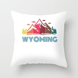 Retro Distressed Wyoming Design for Men Women and Kids Throw Pillow