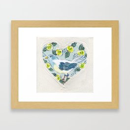 Bluebird almongs yellow roses Framed Art Print