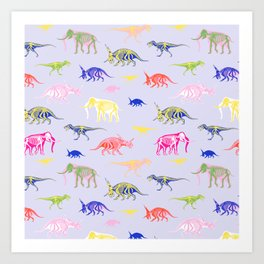 Multicolor pattern with dinosaurs and mammoth Art Print