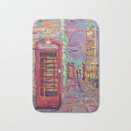 London City Life - palette knife abstract urban city streets architecture Big Ben Bath Mat