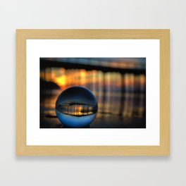 Avila Pier Captured in a crystal ball at sunrise Framed Art Print