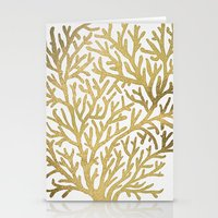coral Stationery Cards featuring Gold Coral by Cat Coquillette