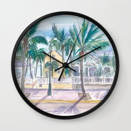 Key West Conch Dream House-Houses Palms And Keys Street Wall Clock