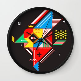 Vintage Abstract Art Colorful Geometric Shape Pattern with an Eye Wall Clock