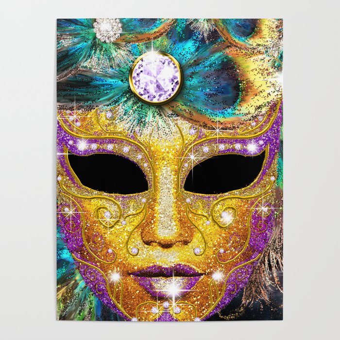 Golden Carnival Mask Poster
