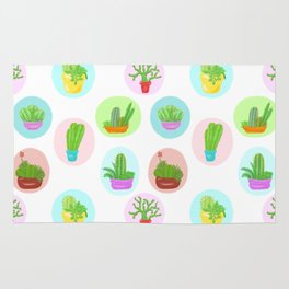 A Collection of Potted Cacti and Succulents With Borders Rug