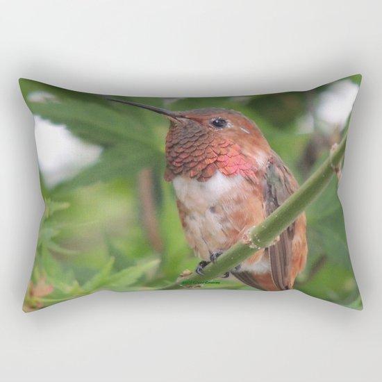 Hummingbird in the Japanese Maple Rectangular Pillow