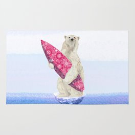 Polar bear & Surf (pink) Rug