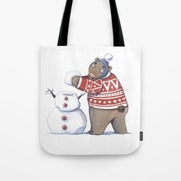 Bear with snowman Tote Bag