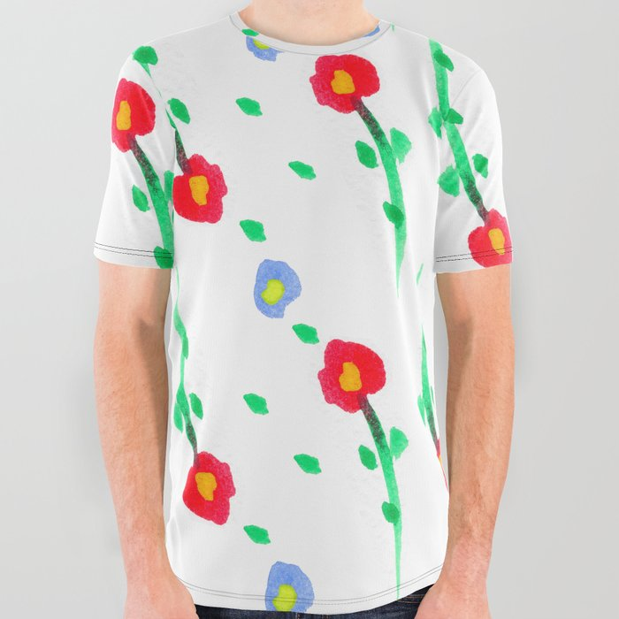 Doodle: flowers pattern All Over Graphic Tee