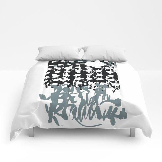grey calligraphy (screen print) Comforters