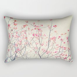 Ruby and Rose Quartz -- Red Pink Dogwood Tree in Flower Rectangular Pillow