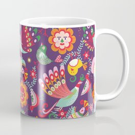 Scandinavian folkart birdies | purple Coffee Mug