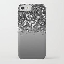 Black & Gunmetal Gray Silver Glitter Ombre iPhone Case