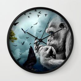 Gorilla discovers crows by GEN Z Wall Clock