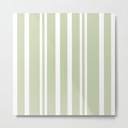 Plain Seafoam Green and White Stripes Design Metal Print