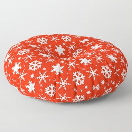 Snowflakes Red Floor Pillow