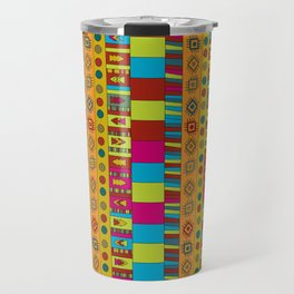 Abstract hand drawn Ethno design  in vivid colours. Travel Mug