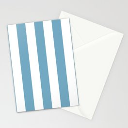 Moonstone blue - solid color - white vertical lines pattern Stationery Cards