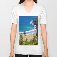hawaiian V-neck T-shirts featuring Hawaiian beach by Ricarda Balistreri