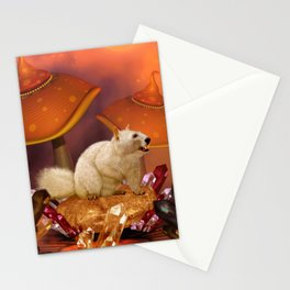 Awesome funny squirrel polar bear Stationery Cards