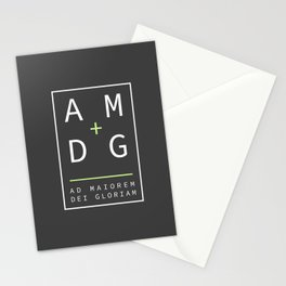 Jesuit motto latin phrase: Ad Maiorem Dei Gloriam Stationery Cards