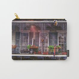 Sunny New Orleans French Quarter Nola Home with Iconic Blue Gray Architecture and Botanical Greenery Carry-All Pouch