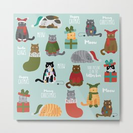 Naughty Christmas Cats with Words Metal Print