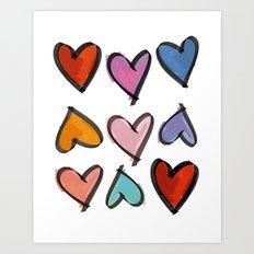 Hearts 2 Art Print