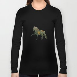 Horse Silhouetted in Sunflowers Long Sleeve T-shirt
