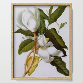 Vintage Botanical White Magnolia Flower Art Serving Tray