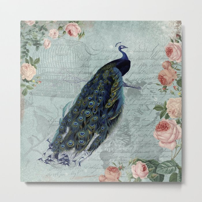 Vintage Victorian Peacock Bird and Roses Illustration on #Society6 Metal Print