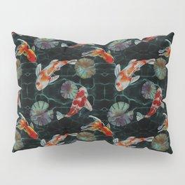 Meditative Koi Fish Pattern Black Pillow Sham