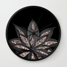 Gray Black Agave with Rose Gold Glitter #1 #shiny #tropical #decor #art #society6 Wall Clock