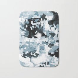 Minerva - abstract art home decor dorm college office minimal painting blue black white Bath Mat