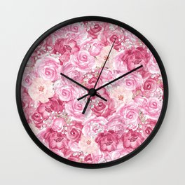 Hand painted white blush pink  coral floral Wall Clock