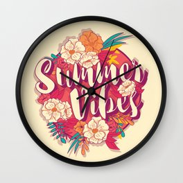 Summer vibes typography banner round design in tropical flower frame 001 Wall Clock