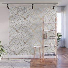 Geometric Gold Pattern on Marble Texture Wall Mural