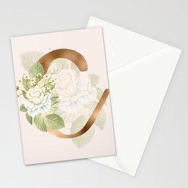 Gold Vintage Rose C Letter Stationery Cards