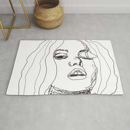 Sketch girl with butterfly | painter women | black art Rug