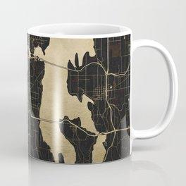 Seattle Black and Gold Map Coffee Mug