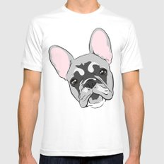 Jersey the French Bulldog White Mens Fitted Tee MEDIUM