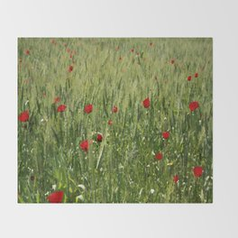 Red Poppies Growing In A Corn Field  Throw Blanket